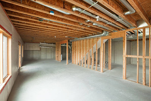 Unfinished House Walk-out Basement stock photo