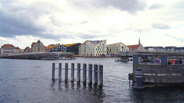 Unfinished Inner Harbor Bridge, construction site of Inderhavnsbroen stock photo