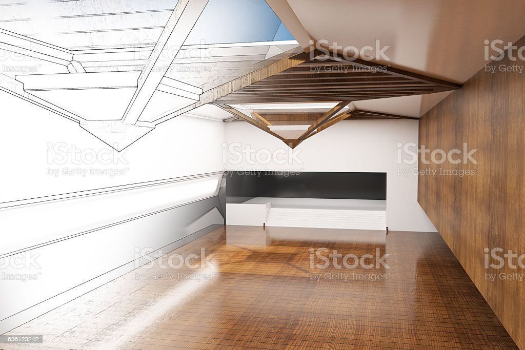 Unfinished interior project stock photo