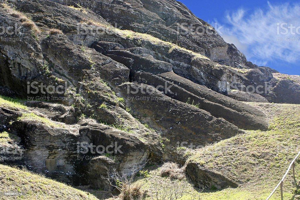 Unfinished Moai royalty-free stock photo