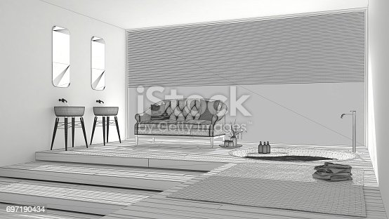 820899008 istock photo Unfinished project of classic bathroom with big window, sketch abstract interior design 697190434