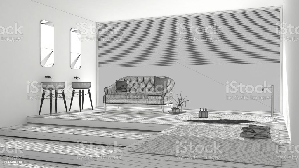 Projet Inacheve De Salle Bain Classique Avec Grande Fenetre Croquis Abstrait Design D