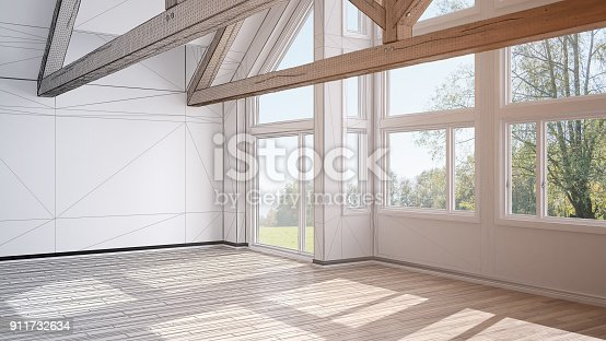 istock Unfinished project of empty room in luxury eco house, parquet floor and wooden roof trusses, panoramic window panoramic window on summer spring meadow, modern white architecture interior design 911732634