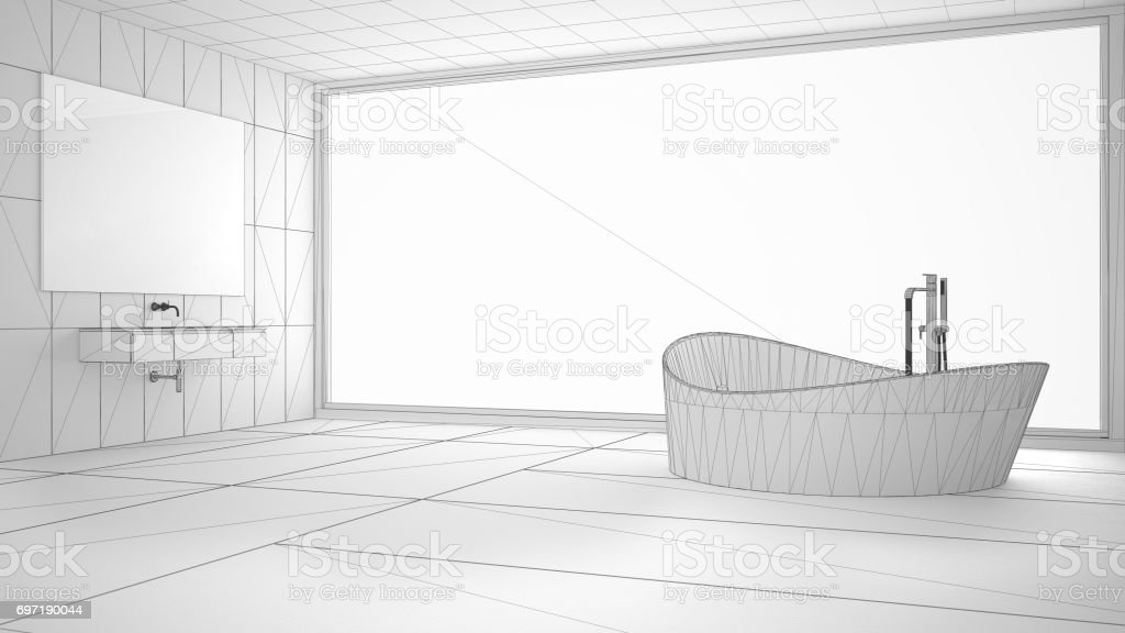 Unfinished Project Of Minimalist Bathroom With Big Panoramic Window Sketch Abstract Interior Design Stock Photo Download Image Now Istock