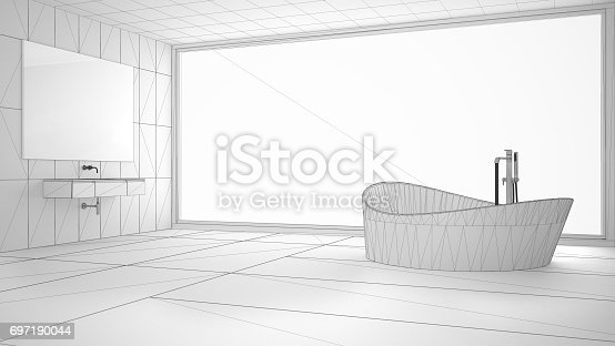 820899828istockphoto Unfinished project of minimalist bathroom with big panoramic window, sketch abstract interior design 697190044
