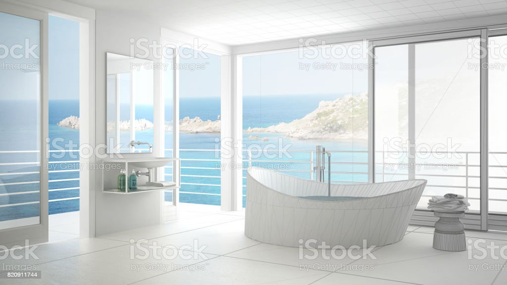 Unfinished Project Of Minimalist Bathroom With Big Window Sketch Abstract Interior Design Stock Photo Download Image Now Istock