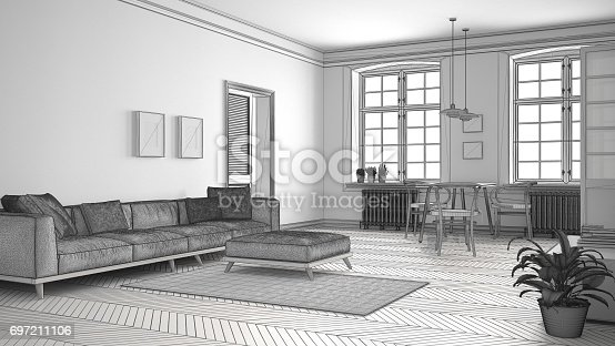 820899008 istock photo Unfinished project of minimalist living room, sketch abstract interior design 697211106