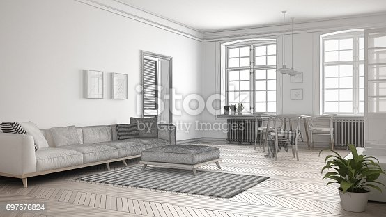 820899008 istock photo Unfinished project of minimalist living room, sketch abstract interior design 697576824