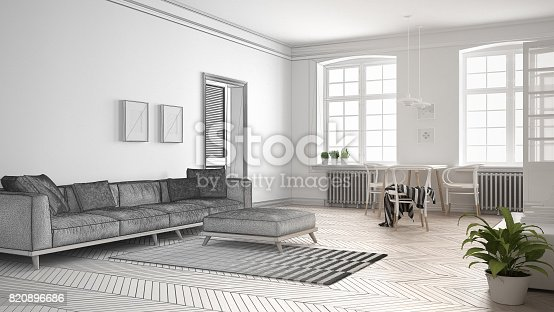 820899008 istock photo Unfinished project of minimalist living room, sketch abstract interior design 820896686