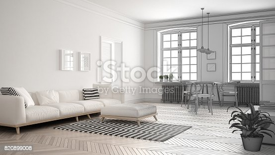 istock Unfinished project of minimalist living room, sketch abstract interior design 820899008
