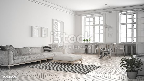 820899008 istock photo Unfinished project of minimalist living room, sketch abstract interior design 820899058