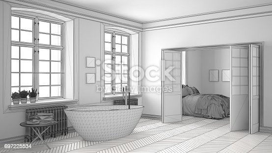 820899008 istock photo Unfinished project of minimalist white bathroom with bedroom in the background, sketch abstract interior design 697225534