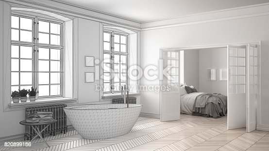 820899008 istock photo Unfinished project of minimalist white bathroom with bedroom in the background, sketch abstract interior design 820899186