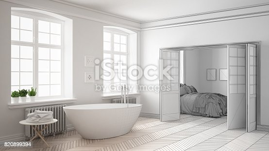 820899008 istock photo Unfinished project of minimalist white bathroom with bedroom in the background, sketch abstract interior design 820899394