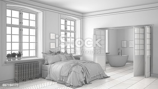 820899828istockphoto Unfinished project of minimalist white bedroom with bathroom in the background, sketch abstract interior design 697194172