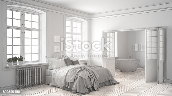 820899008 istock photo Unfinished project of minimalist white bedroom with bathroom in the background, sketch abstract interior design 820899496