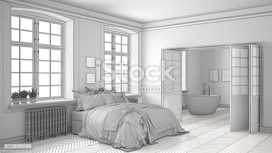 820899008 istock photo Unfinished project of minimalist white bedroom with bathroom in the background, sketch abstract interior design 820899596