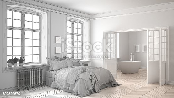 820899008 istock photo Unfinished project of minimalist white bedroom with bathroom in the background, sketch abstract interior design 820899670