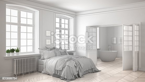820899008 istock photo Unfinished project of minimalist white bedroom with bathroom in the background, sketch abstract interior design 820899754