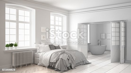 istock Unfinished project of minimalist white bedroom with bathroom in the background, sketch abstract interior design 820899828