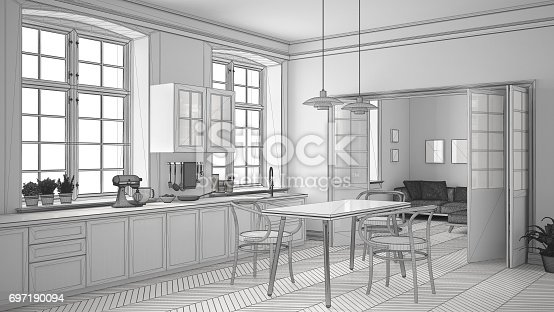 istock Unfinished project of minimalist white kitchen, sketch abstract interior design 697190094