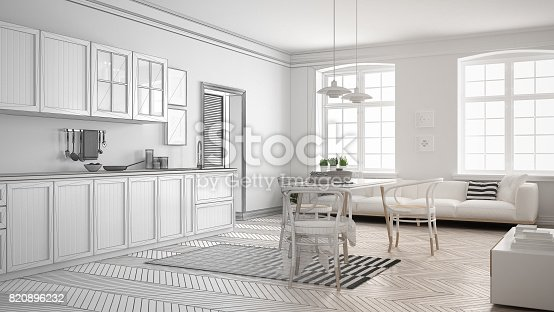 istock Unfinished project of minimalist white kitchen, sketch abstract interior design 820896232