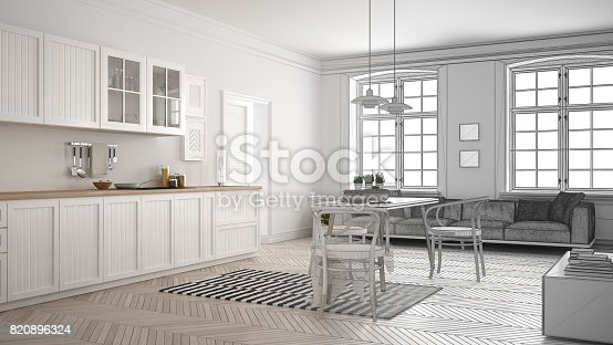 istock Unfinished project of minimalist white kitchen, sketch abstract interior design 820896324