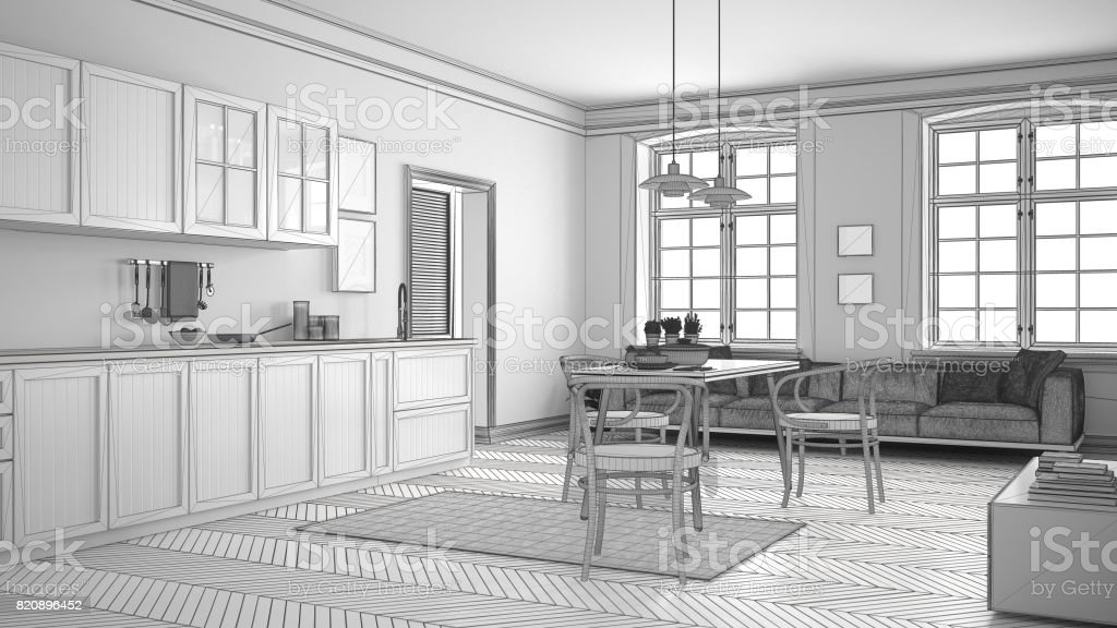 Unfinished Project Of Minimalist White Kitchen Sketch Abstract Interior Design Stock Photo Download Image Now Istock