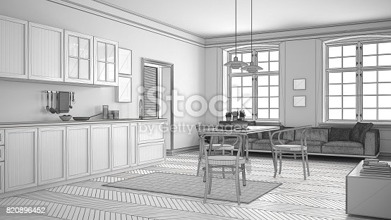 istock Unfinished project of minimalist white kitchen, sketch abstract interior design 820896452