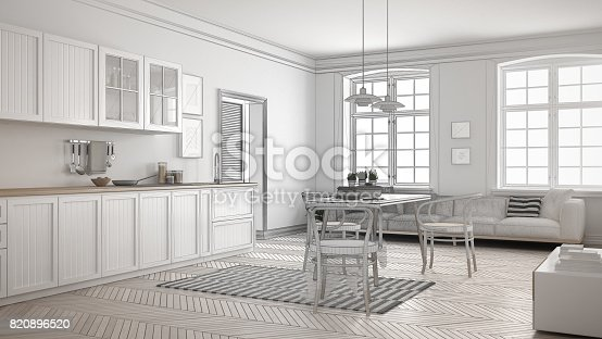 istock Unfinished project of minimalist white kitchen, sketch abstract interior design 820896520