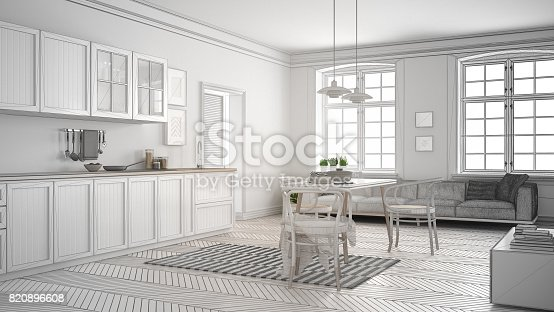istock Unfinished project of minimalist white kitchen, sketch abstract interior design 820896608