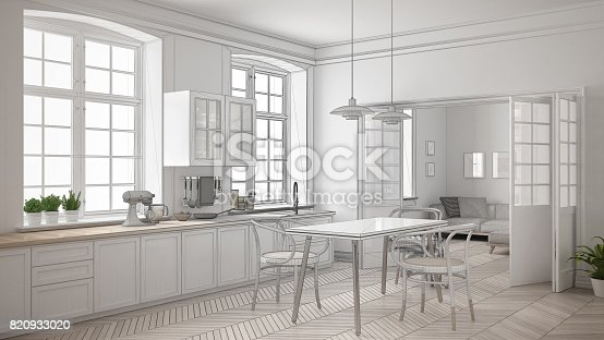 istock Unfinished project of minimalist white kitchen, sketch abstract interior design 820933020