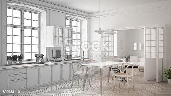 istock Unfinished project of minimalist white kitchen, sketch abstract interior design 820933110