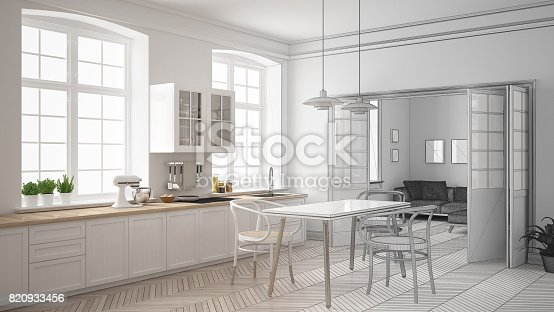 istock Unfinished project of minimalist white kitchen, sketch abstract interior design 820933456