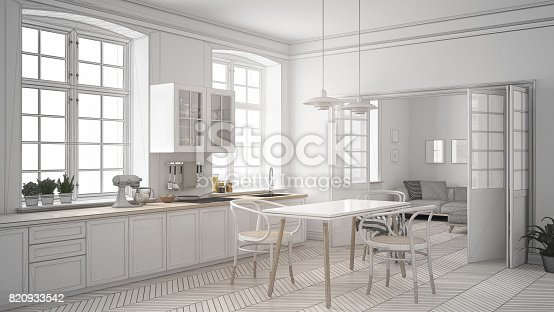 istock Unfinished project of minimalist white kitchen, sketch abstract interior design 820933542