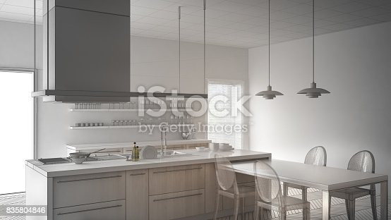 820896232 istock photo Unfinished project of minimalistic modern kitchen with table, chairs and parquet floor, sketch abstract interior design 835804846