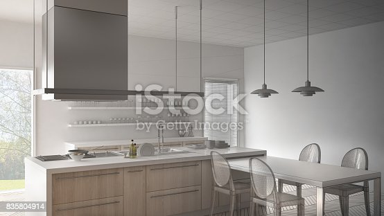 820896232 istock photo Unfinished project of minimalistic modern kitchen with table, chairs and parquet floor, sketch abstract interior design 835804914