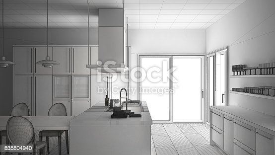 820896232 istock photo Unfinished project of minimalistic modern kitchen with table, chairs and parquet floor, sketch abstract interior design 835804940