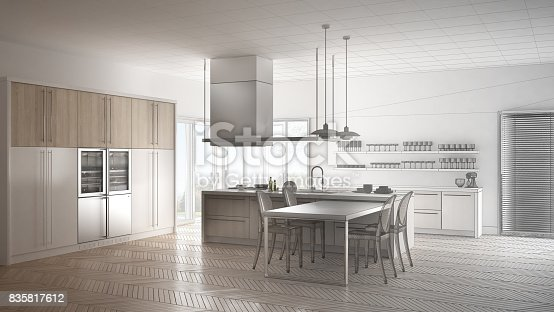 istock Unfinished project of minimalistic modern kitchen with table, chairs and parquet floor, sketch abstract interior design 835817612