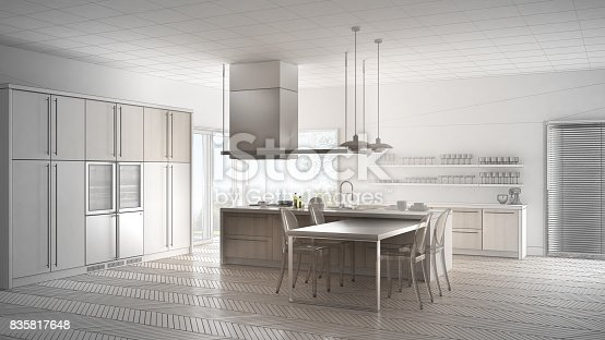 istock Unfinished project of minimalistic modern kitchen with table, chairs and parquet floor, sketch abstract interior design 835817648