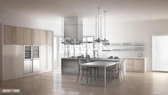 istock Unfinished project of minimalistic modern kitchen with table, chairs and parquet floor, sketch abstract interior design 835817666