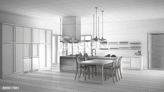 istock Unfinished project of minimalistic modern kitchen with table, chairs and parquet floor, sketch abstract interior design 835817684