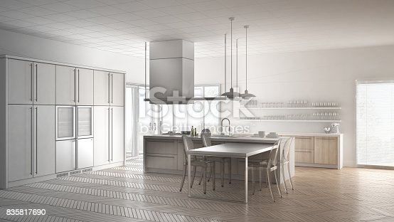 istock Unfinished project of minimalistic modern kitchen with table, chairs and parquet floor, sketch abstract interior design 835817690
