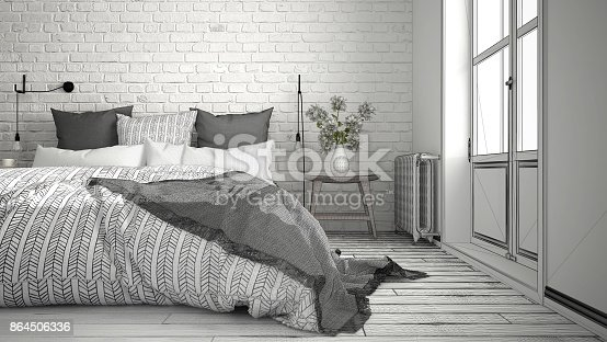 820899828istockphoto Unfinished project of modern bedroom with cozy double bed and brick wall, scandinavian minimalist architecture interior design, close-up 864506336
