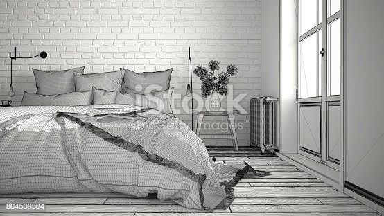 istock Unfinished project of modern bedroom with cozy double bed and brick wall, scandinavian minimalist architecture interior design, close-up 864506384