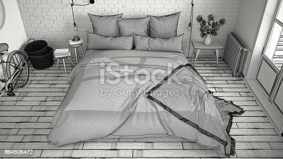 istock Unfinished project of modern bedroom with cozy double bed and brick wall, scandinavian minimalist architecture interior design, top view 864506472