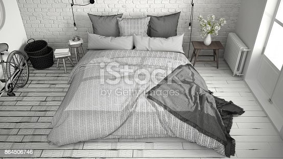 istock Unfinished project of modern bedroom with cozy double bed and brick wall, scandinavian minimalist architecture interior design, top view 864506746