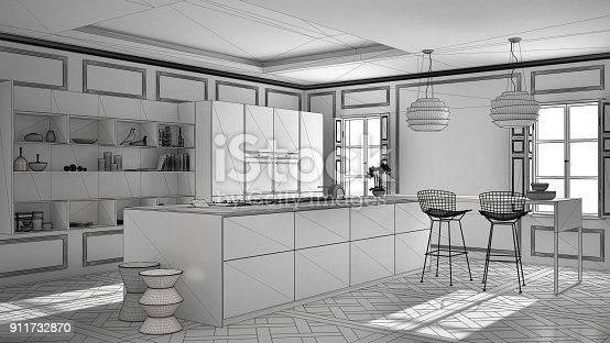 istock Unfinished project of modern kitchen furniture in classic room, old parquet, minimalist architecture interior design 911732870