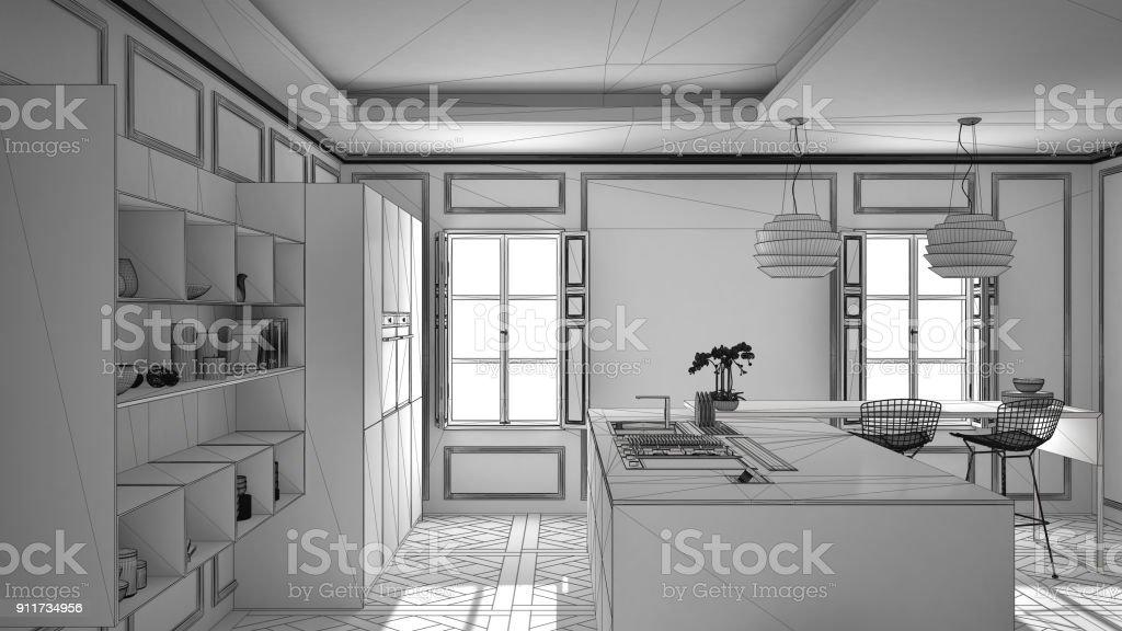 Unvollendete Projekt Der Moderne Kuchenmobel Im Classic Zimmer Altes