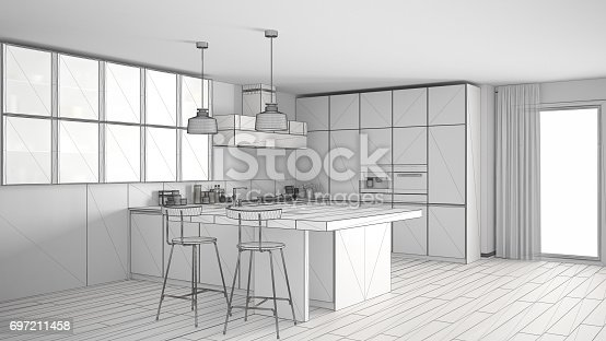 istock Unfinished project of modern kitchen with big window, sketch abstract interior design 697211458